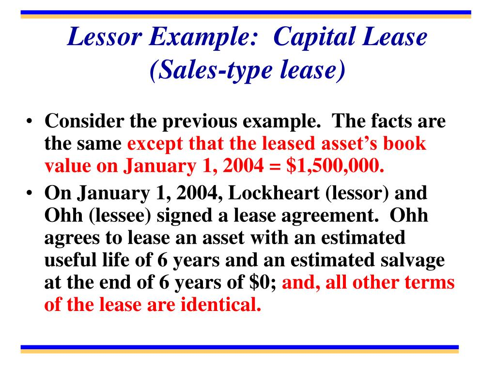 Lessor Example:  Capital Lease (Sales-type lease)
