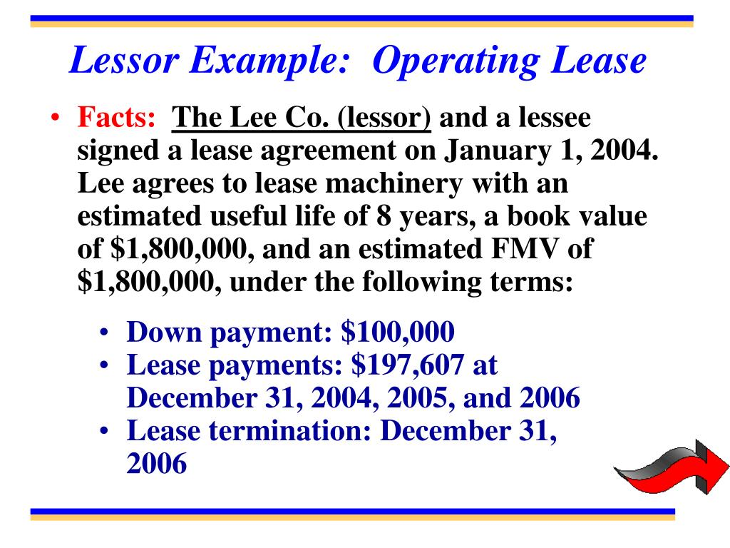 Lessor Example:  Operating Lease