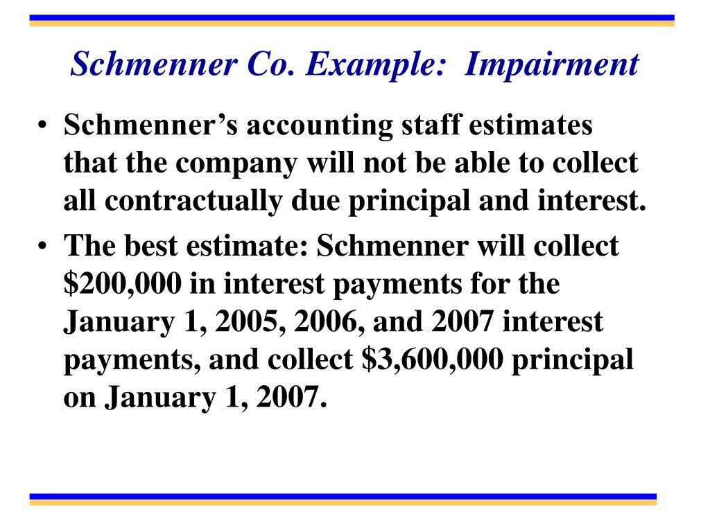 Schmenner Co. Example:  Impairment