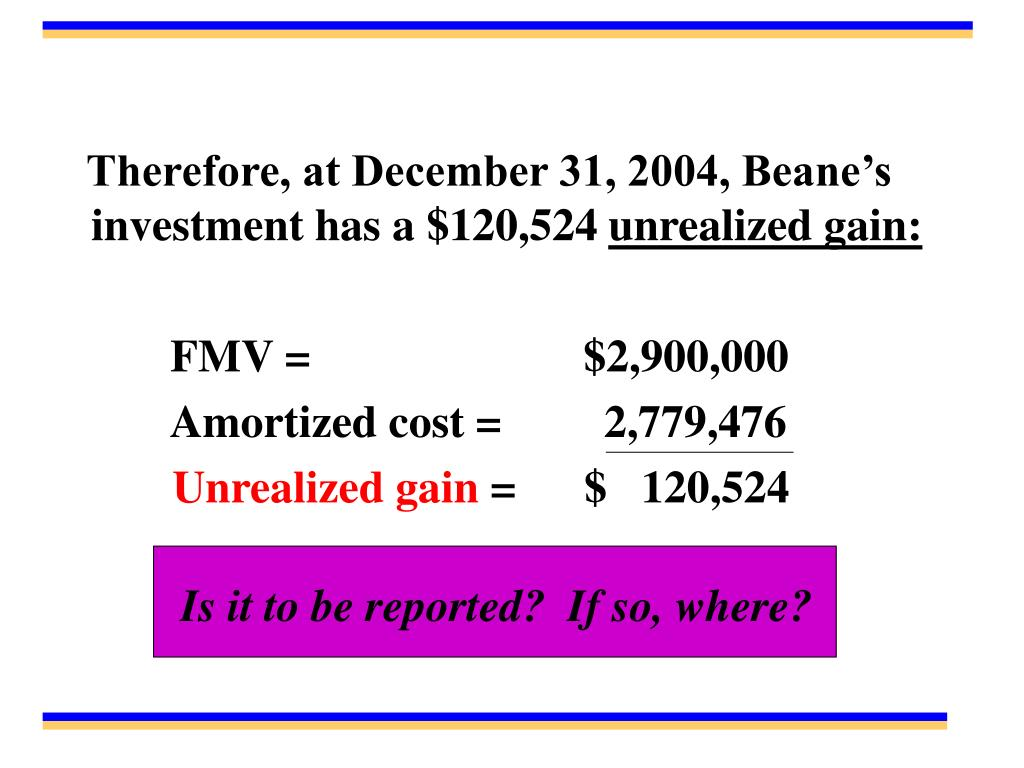 Therefore, at December 31, 2004, Beane's investment has a $120,524