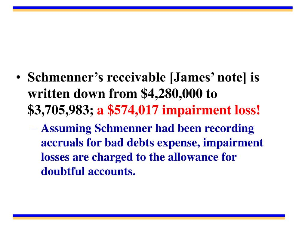 Schmenner's receivable [James' note] is written down from $4,280,000 to $3,705,983;