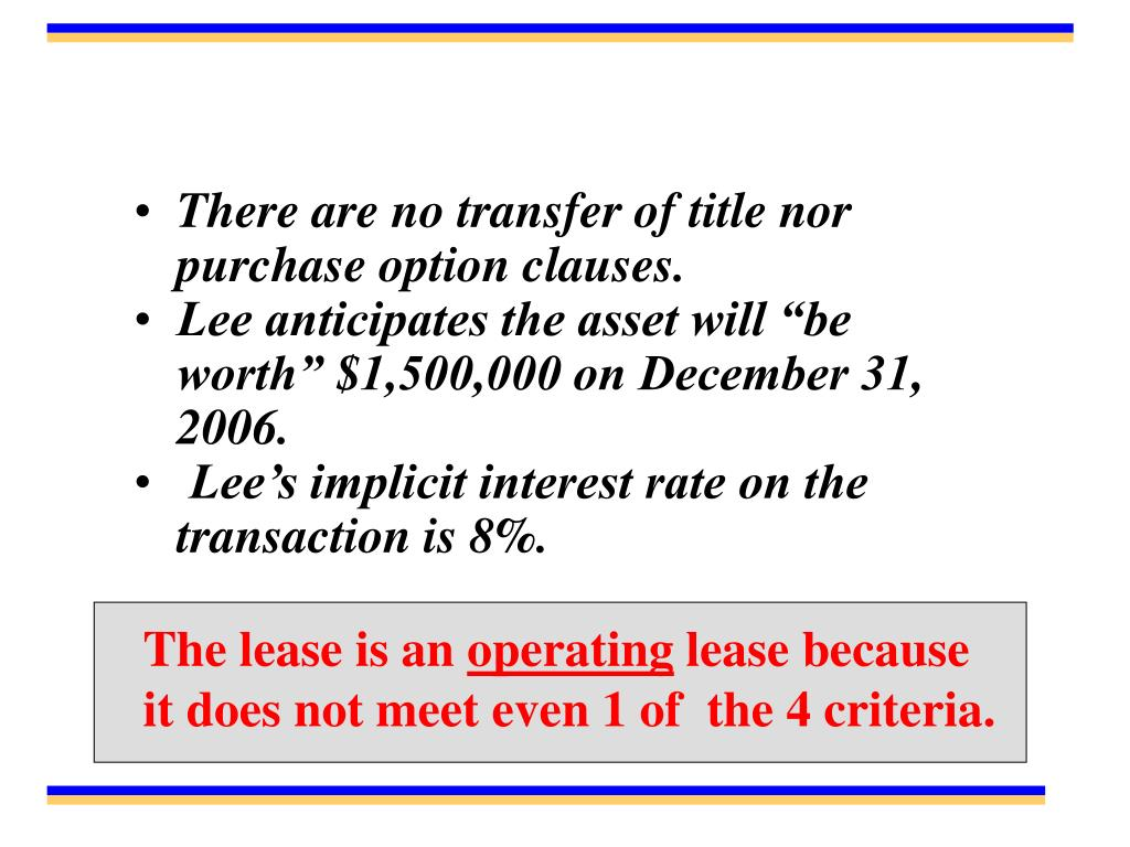 There are no transfer of title nor purchase option clauses.
