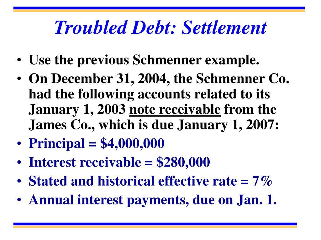 Troubled Debt: Settlement