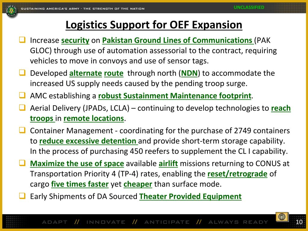 Logistics Support for OEF Expansion