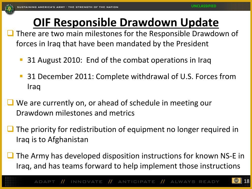 OIF Responsible Drawdown Update