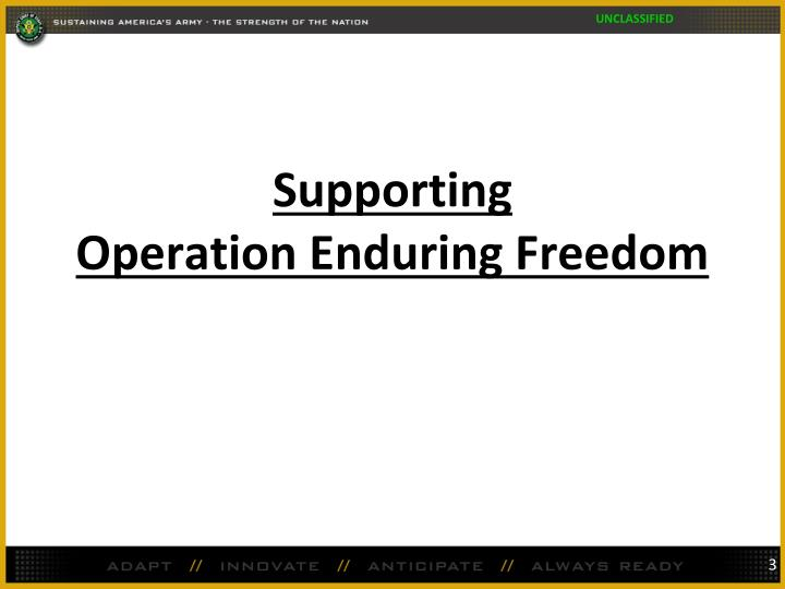 Supporting operation enduring freedom