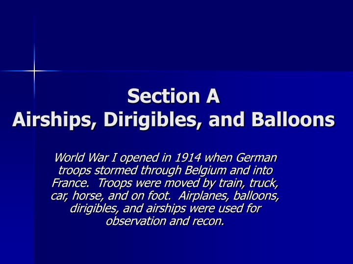 Section a airships dirigibles and balloons