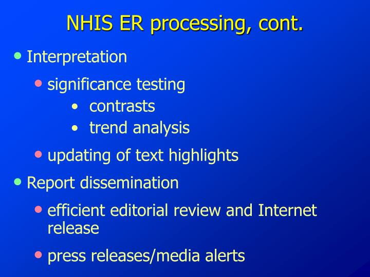 NHIS ER processing, cont.