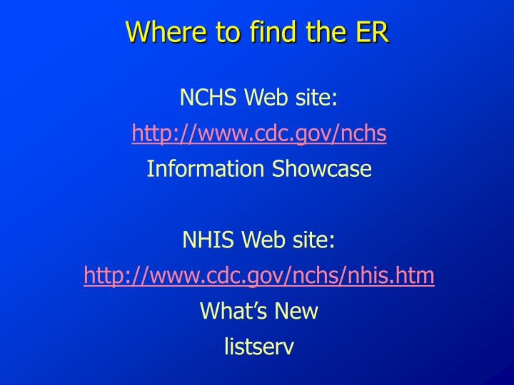 Where to find the ER