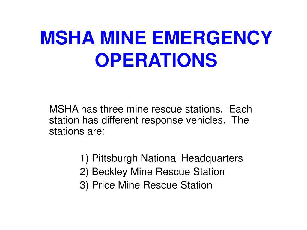 msha mine emergency operations