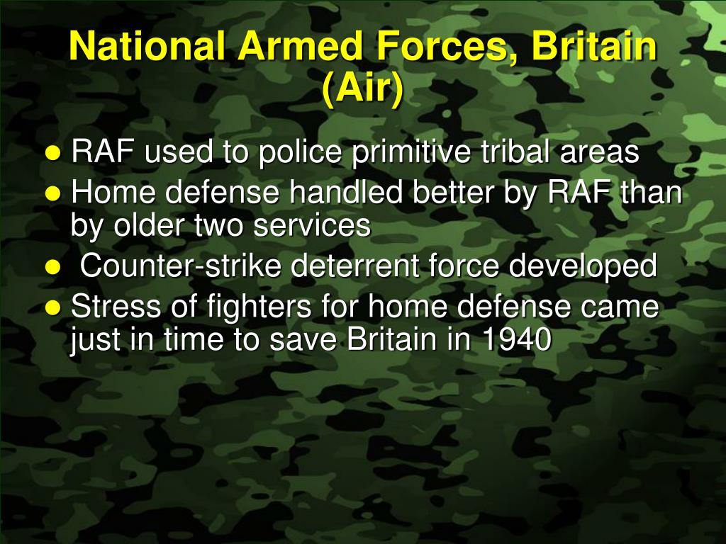 National Armed Forces, Britain (Air)