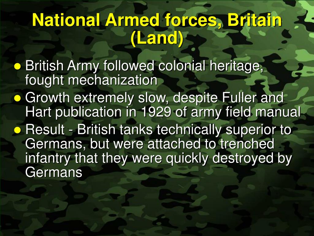 National Armed forces, Britain (Land)