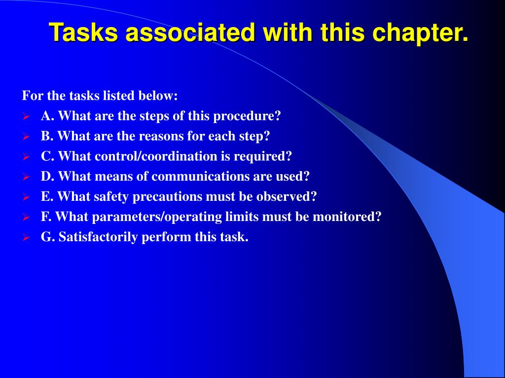 Tasks associated with this chapter.