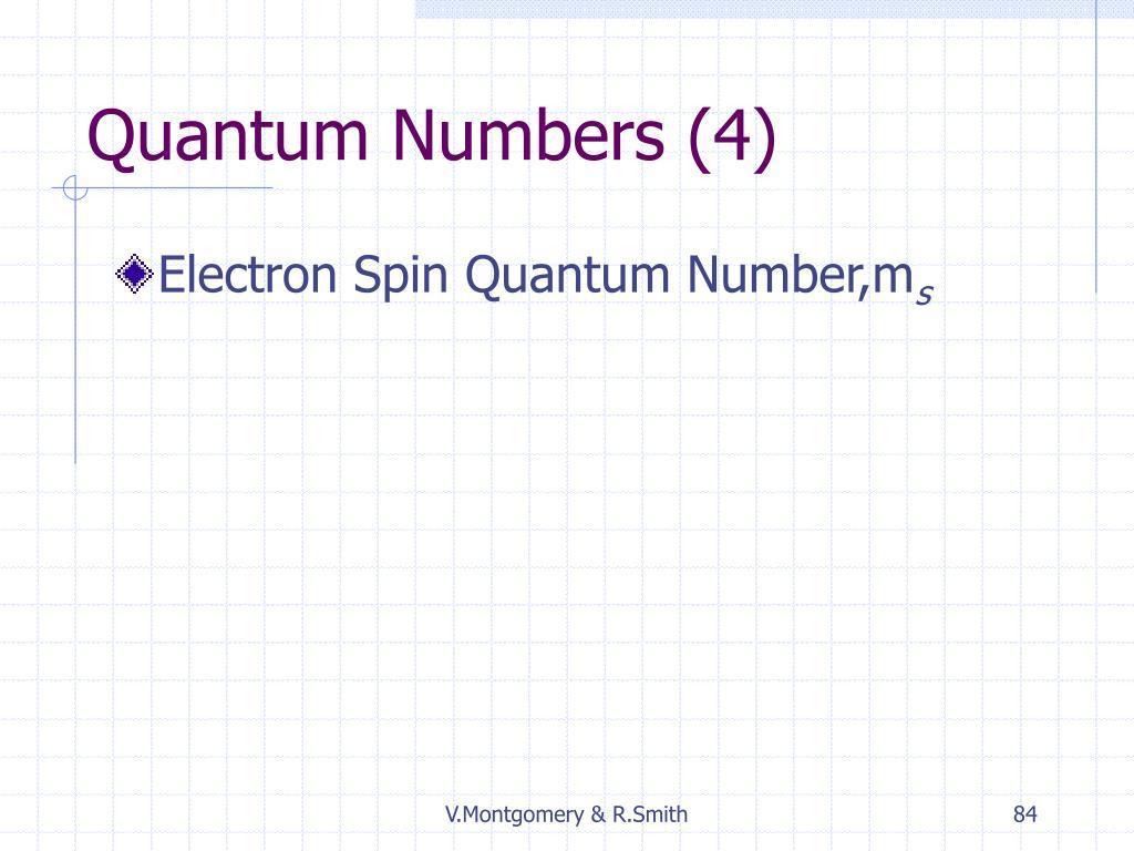 Quantum Numbers (4)