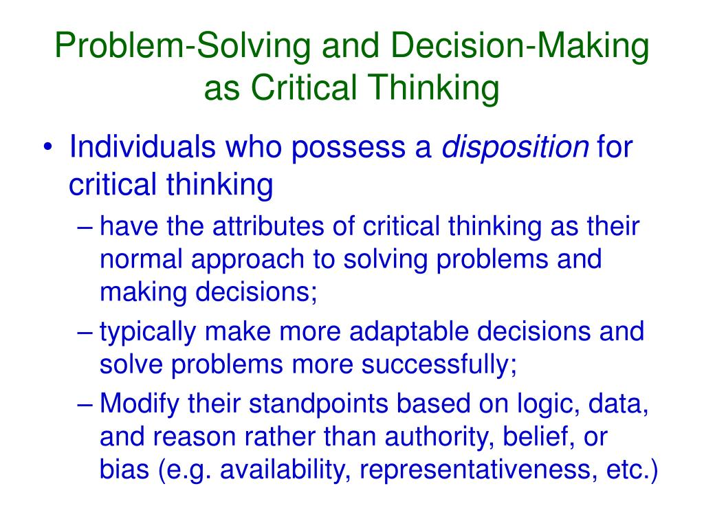critical thinking problem solving and decision making ppt