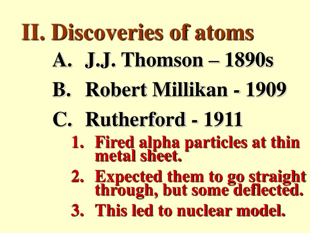 II. Discoveries of atoms