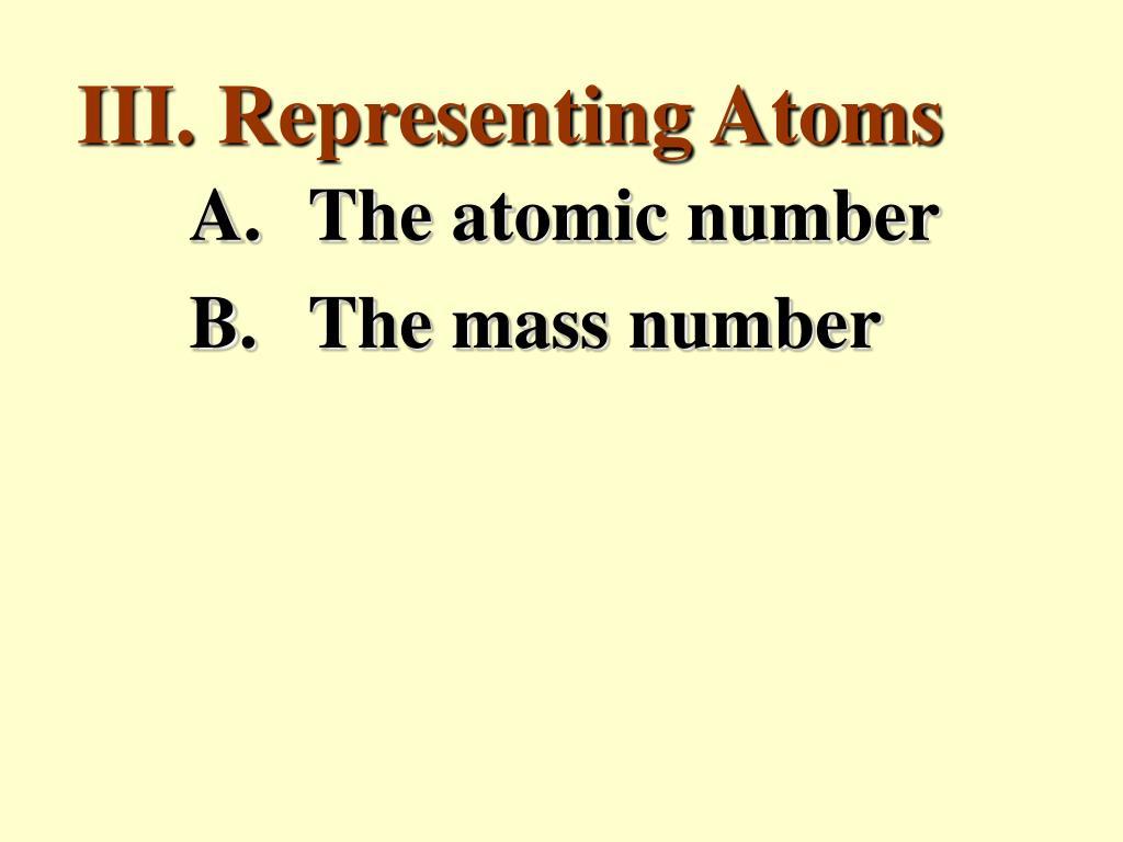 III. Representing Atoms