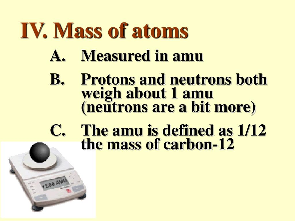 IV. Mass of atoms