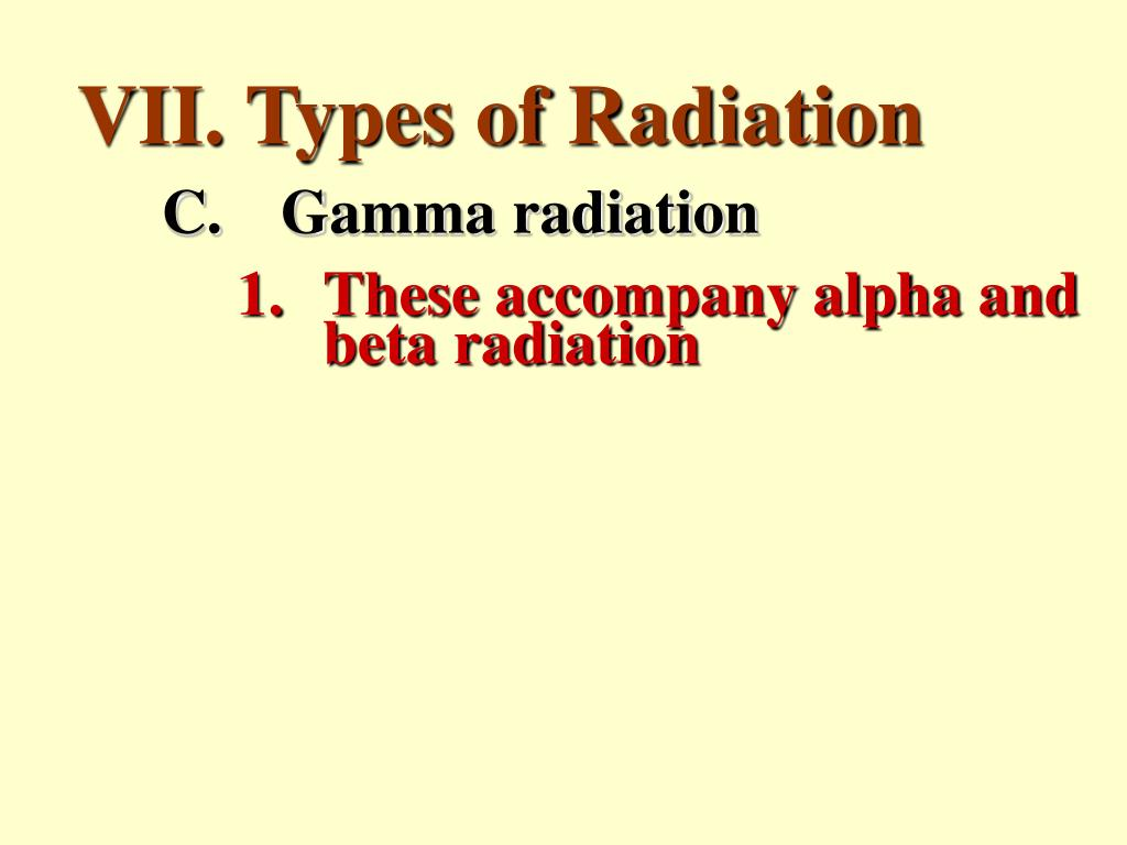 VII. Types of Radiation