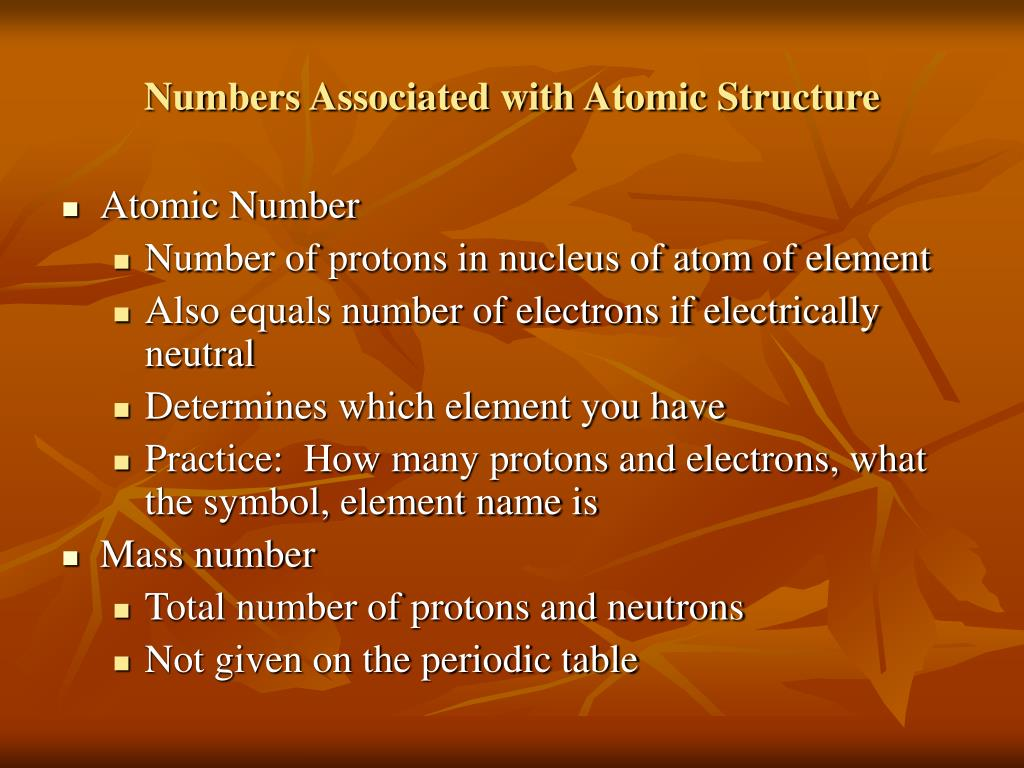 Numbers Associated with Atomic Structure
