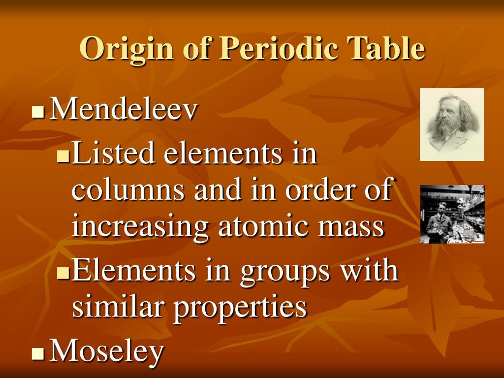 Origin of Periodic Table
