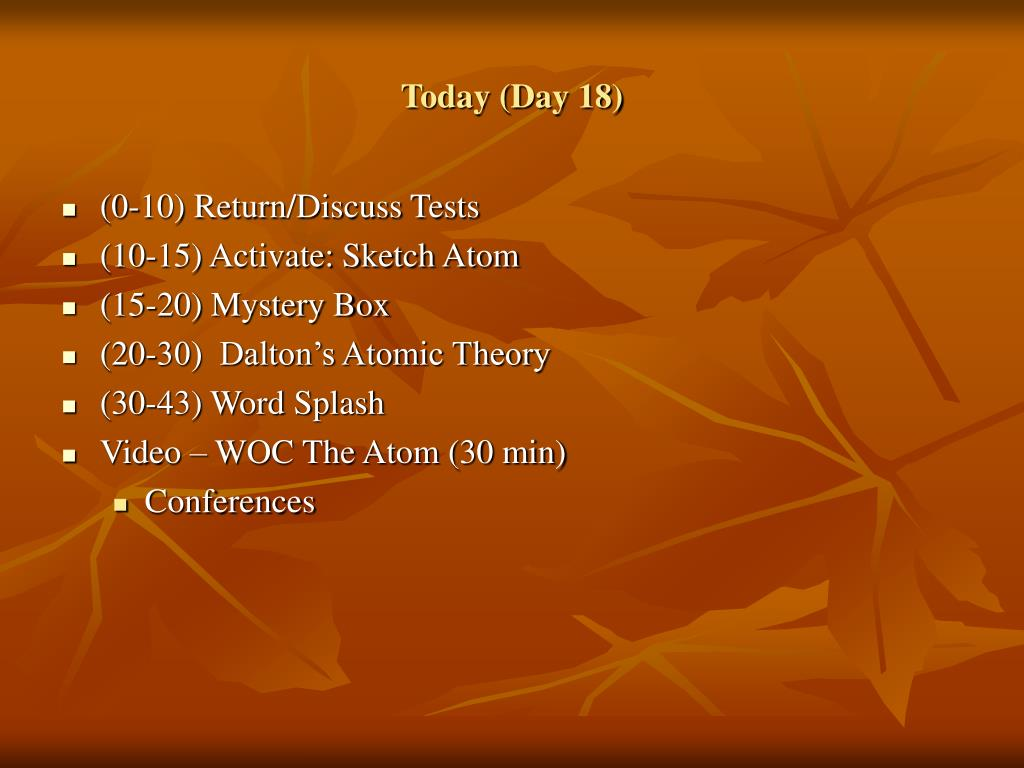 Today (Day 18)
