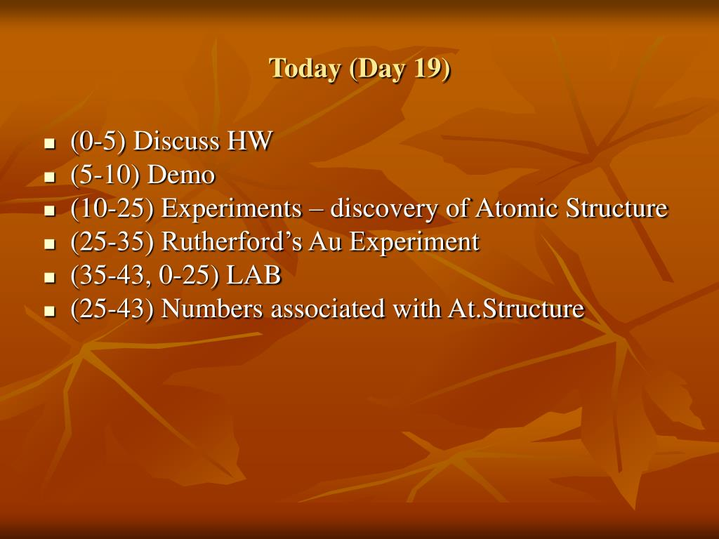 Today (Day 19)