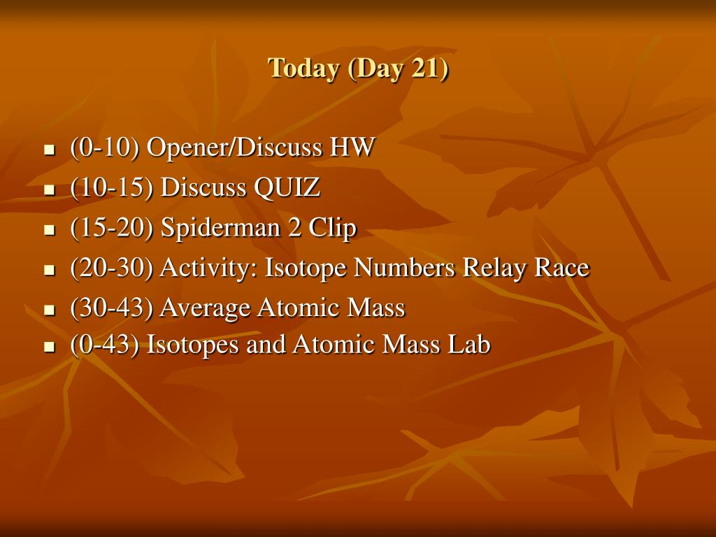 Today (Day 21)