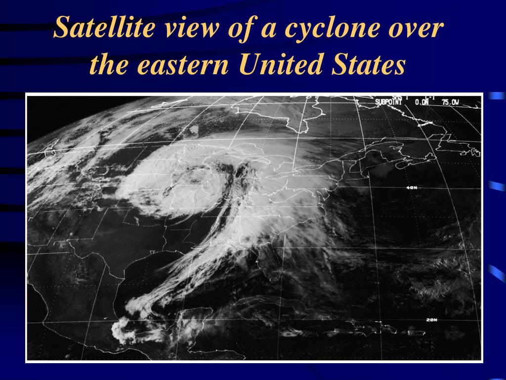 Satellite view of a cyclone over the eastern United States