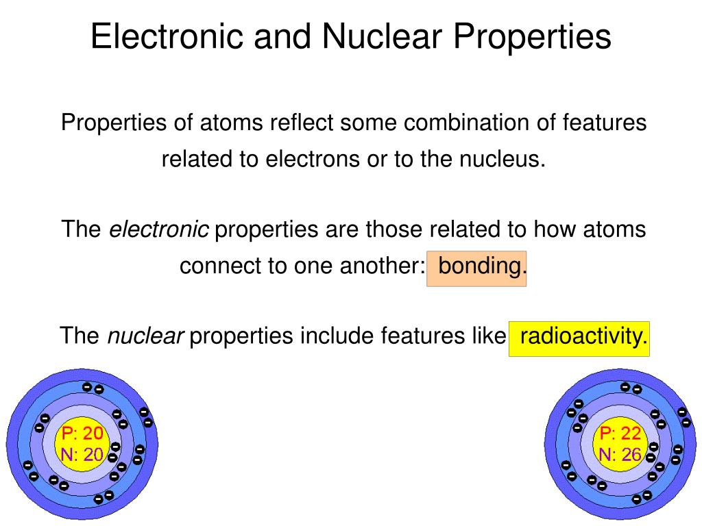 Electronic and Nuclear Properties