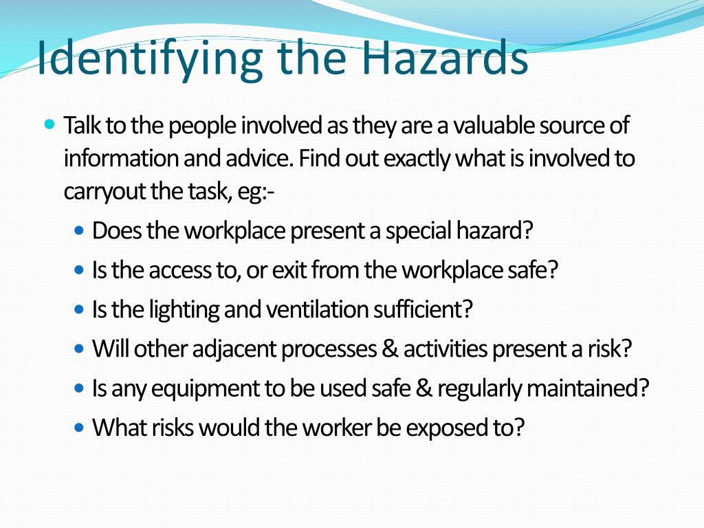 Identifying the Hazards