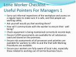 lone worker checklist useful pointers for managers 1