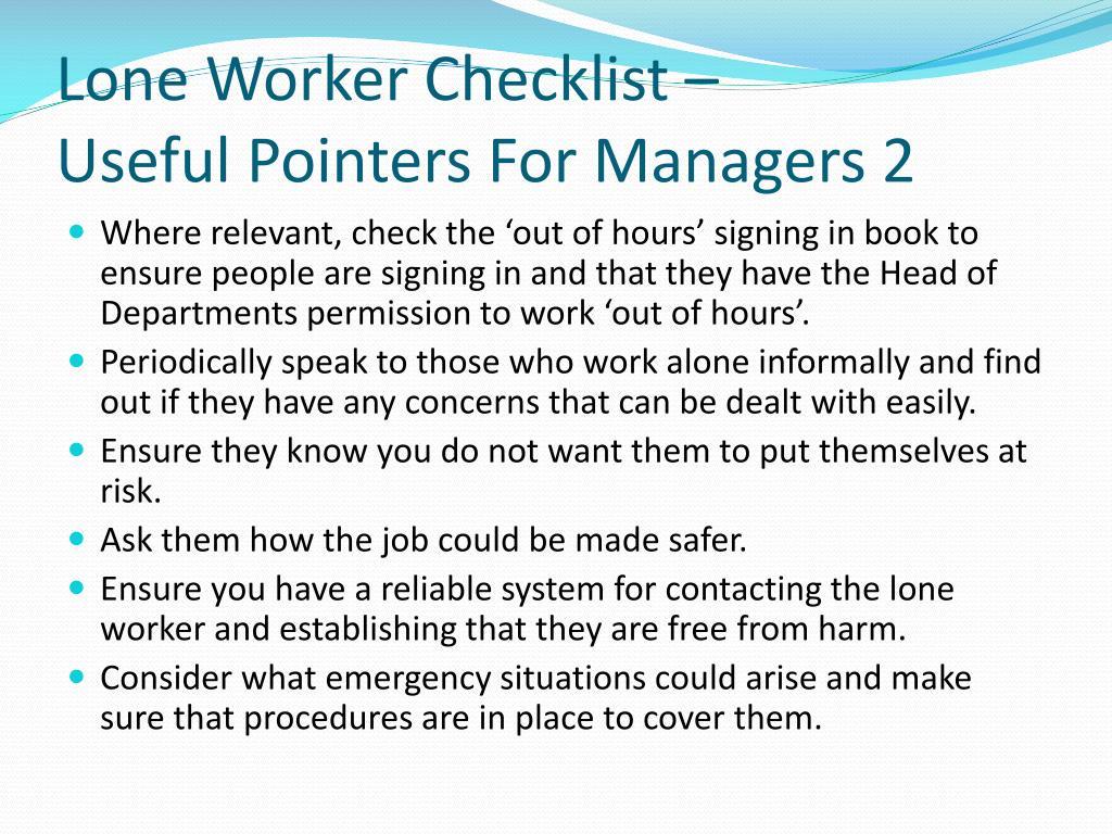 Lone Worker Checklist –