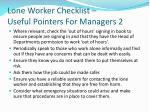 lone worker checklist useful pointers for managers 2