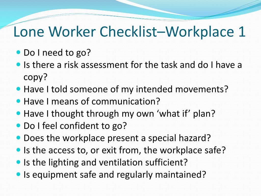 Lone Worker Checklist–Workplace 1