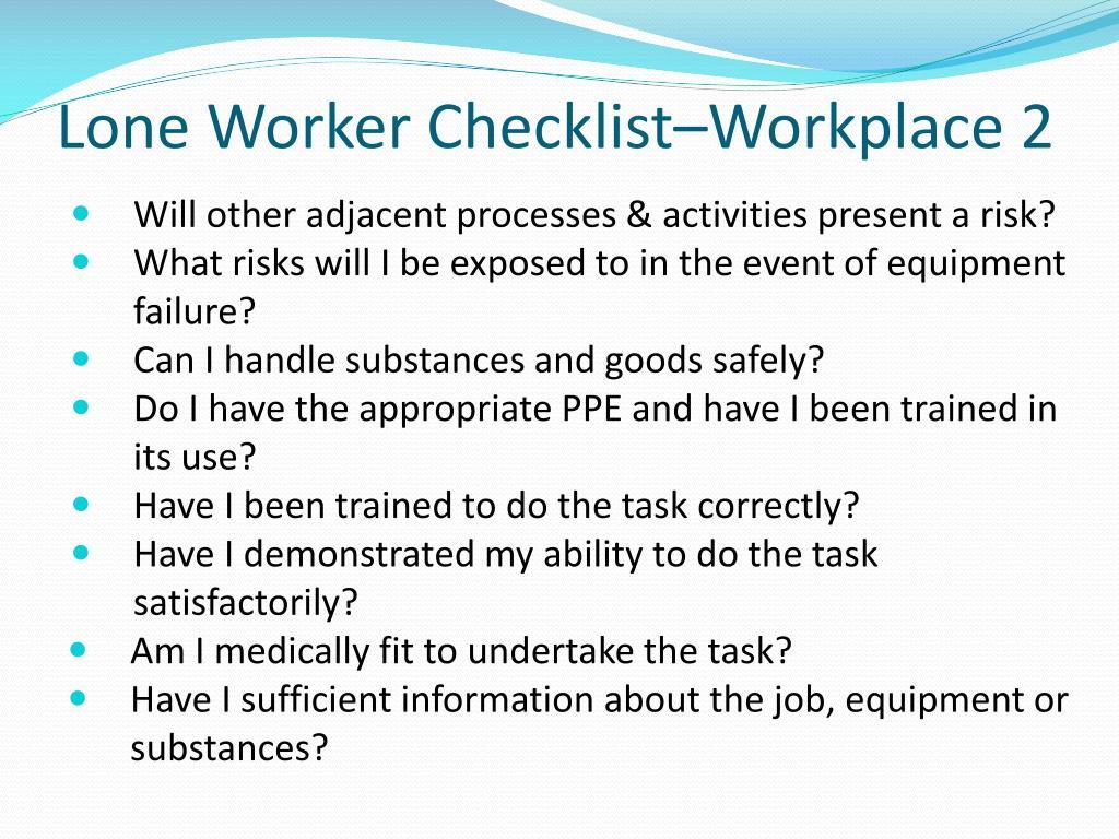 Lone Worker Checklist–Workplace 2