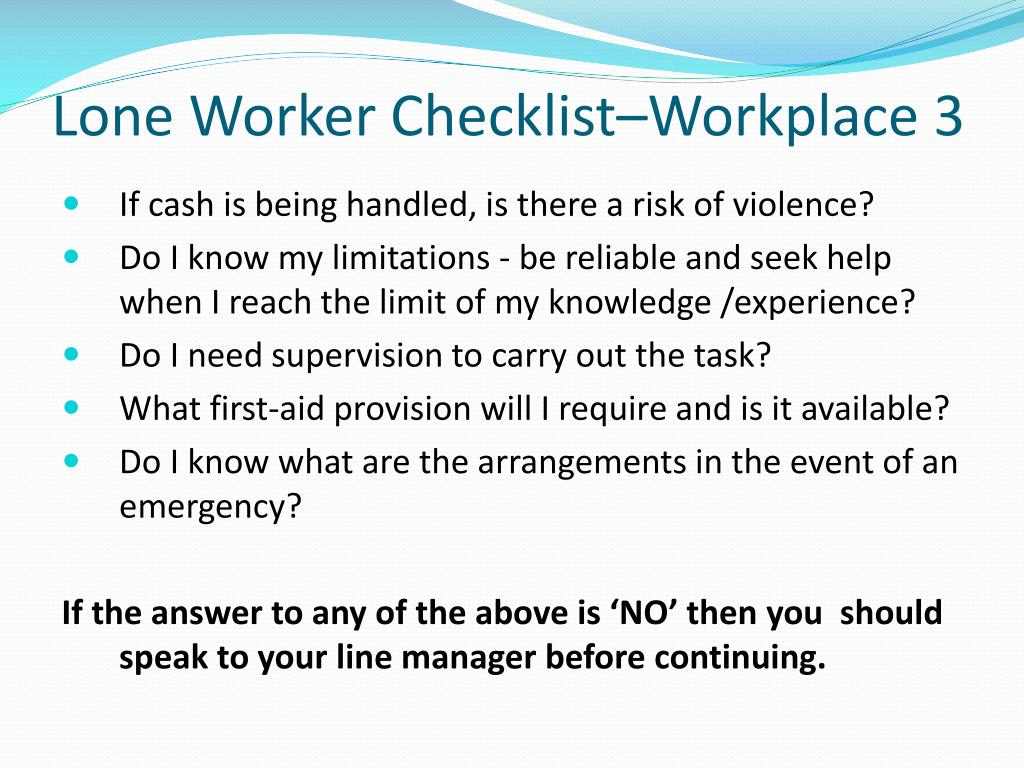 Lone Worker Checklist–Workplace 3