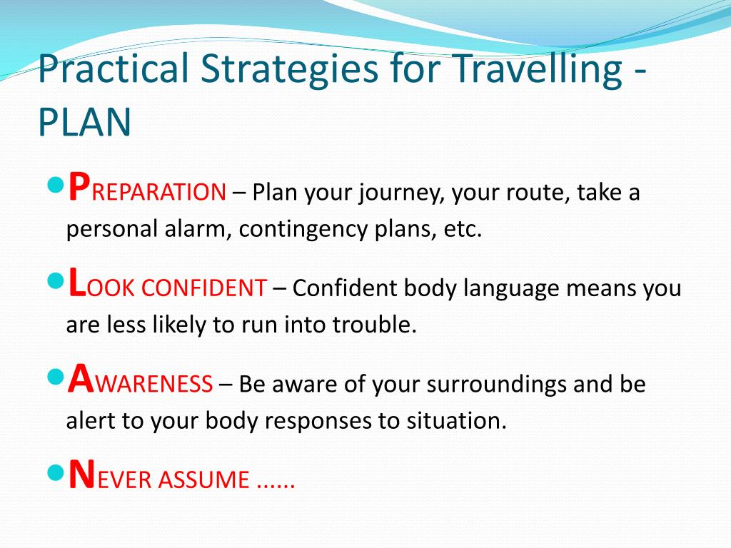 Practical Strategies for Travelling -PLAN