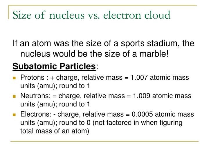 Size of nucleus vs electron cloud