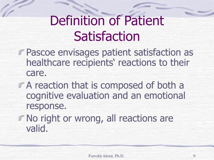 Definition of Patient Satisfaction