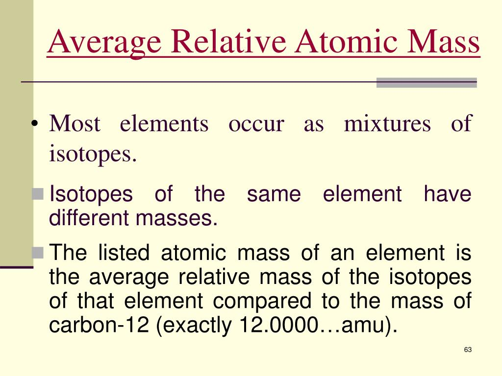Average Relative Atomic Mass