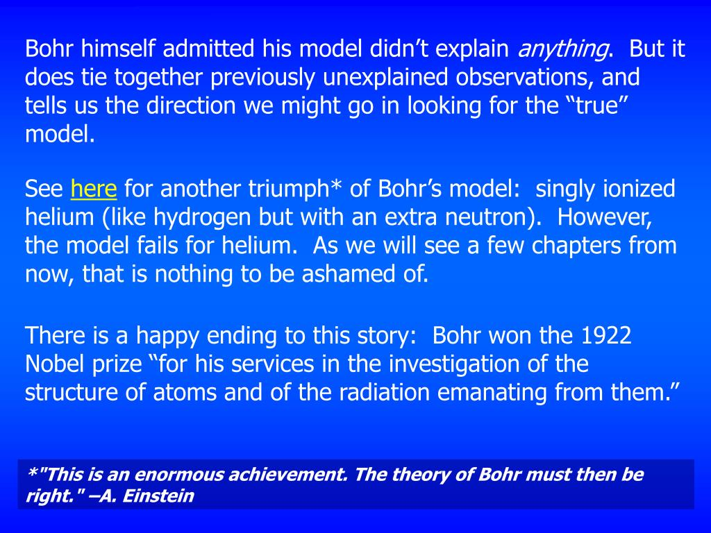 Bohr himself admitted his model didn't explain