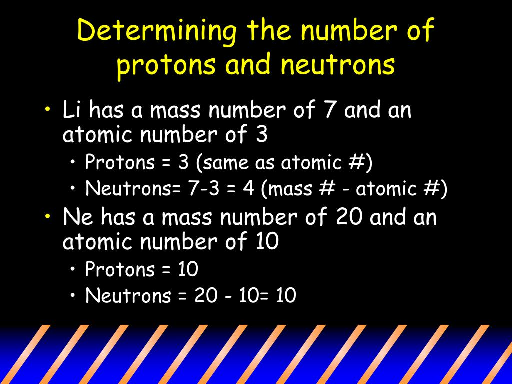 Determining the number of protons and neutrons