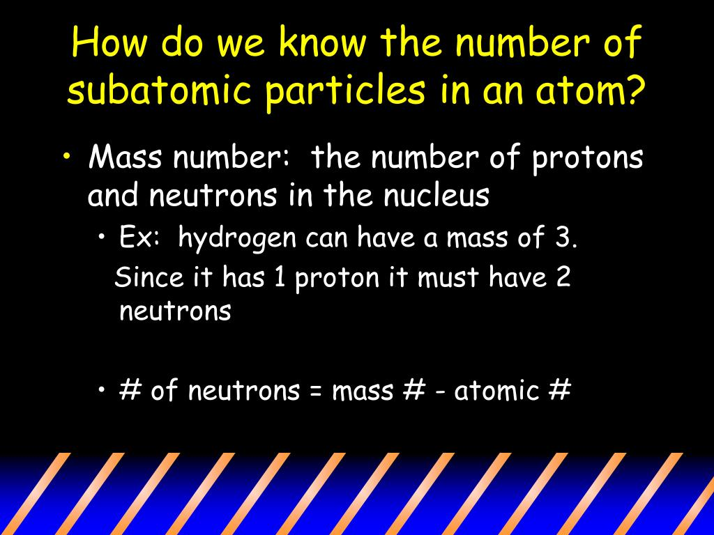 How do we know the number of subatomic particles in an atom?