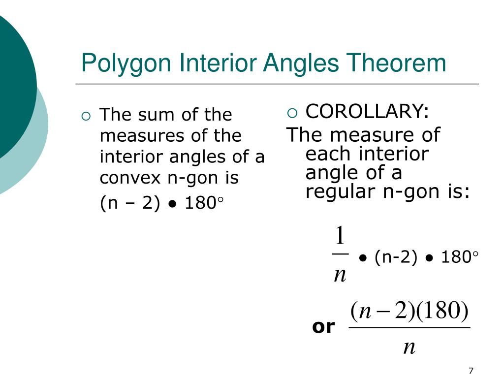 The sum of the measures of the interior angles of a convex n-gon is