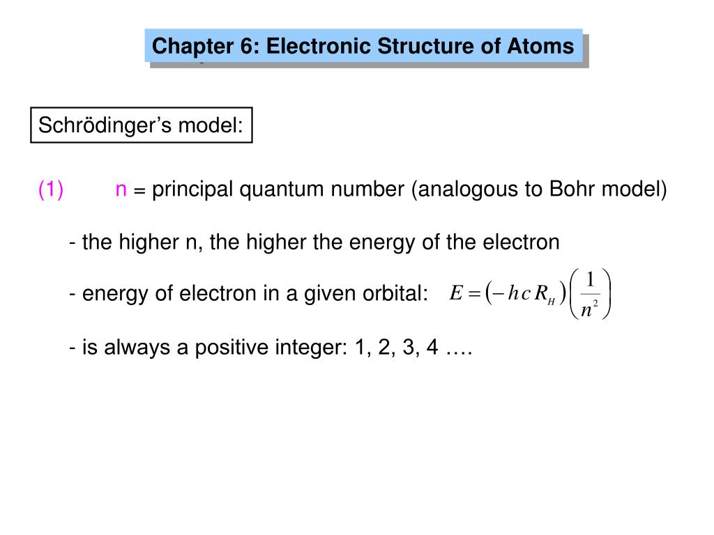 - energy of electron in a given orbital: