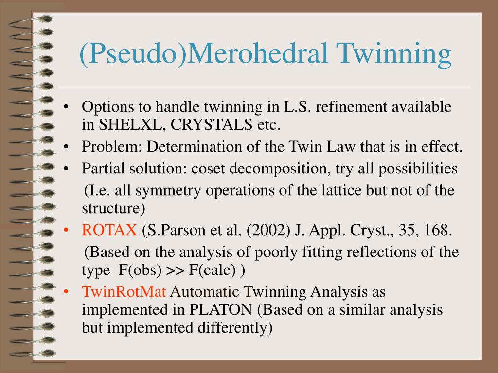 (Pseudo)Merohedral Twinning