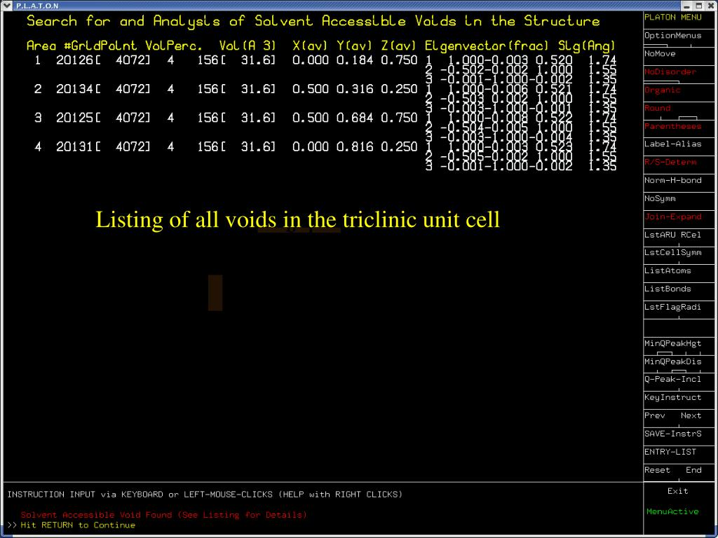 Listing of all voids in the triclinic unit cell