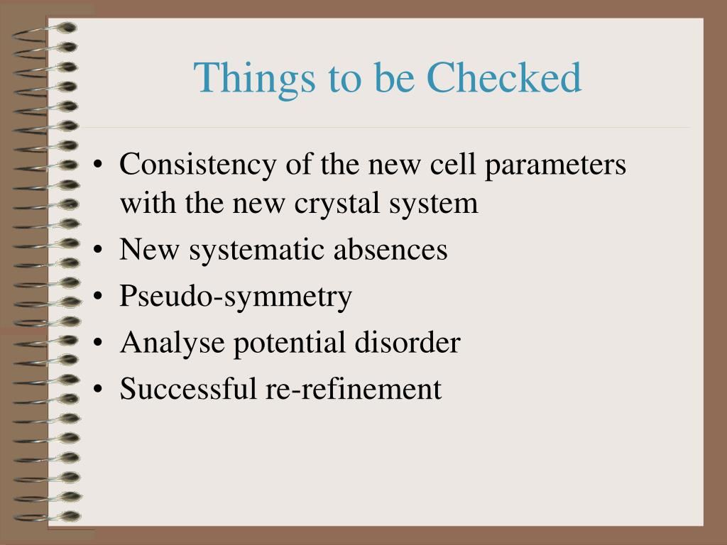 Things to be Checked