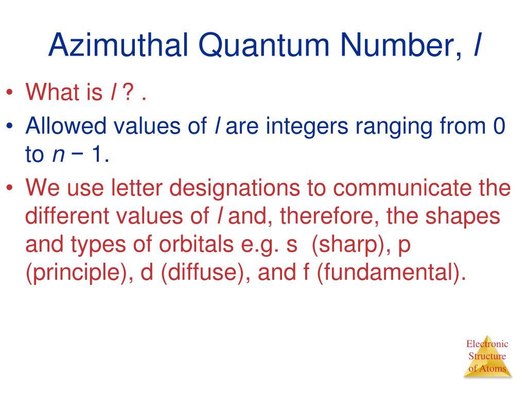 Azimuthal Quantum Number,